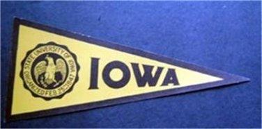 "Vintage University of Iowa Mini Pennant Paper Sticker 8"" by 3 1/2"" Unused"