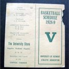 Vintage 1928-29 University of Vermont Athletic Association Basketball Schedule