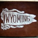 """Vintage University of Wyoming 1910 Leather Pennant Patch 2 1/2"""" by 2"""""""