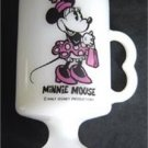 """Vintage Disney Minnie Mouse White Glass Footed Cup Mug 4 3/4"""" Tall"""