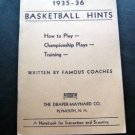 1935-1936 Basketball Hints Booklet by Famous Coaches Draper Maynard NH