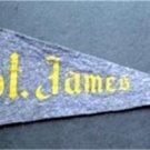 "Vintage St. James School Church Blue Felt Mini Pennant 8 1/2"""