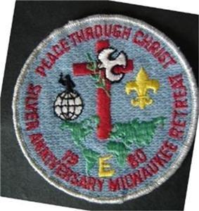 "1980 Silver Anniversary Milwaukee Retreat Religious Boy Scout BSA Patch 4"" Round"