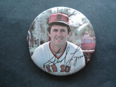 """1970's Boston Red Sox Pin FRED LYNN  3"""" with Facsimilie Autograph"""