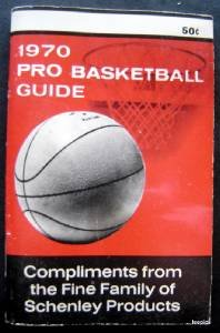 1970 Pro Basketball Guide Schenley Products Booklet