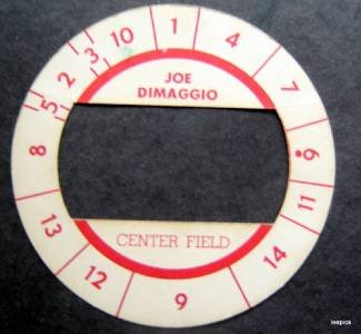 Cadaco All-Star Baseball Game Disk Joe DiMaggio Center Field