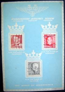Scandinavian Airlines system (SAS) card w/ 3 Kings of Scandinavia stamps 1958