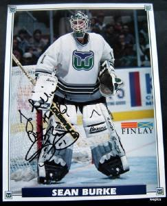 Hartford Whalers Hockey Team Photo  Sean Burke Autographed to Lillian 11/16/95
