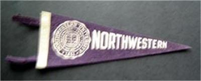 """Vintage Northwestern University Purple Felt Mini Pennant 9"""""""