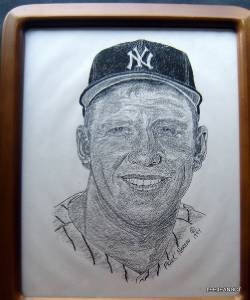 "Mickey Mantle B & W Print by Artist Frank Nareau c 1994 Wood Frame 8"" by 10"""