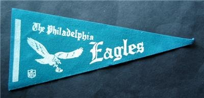 """Vintage 1970s NFL Football Green Felt Mini Pennant 9"""" Philadelphia Eagles"""