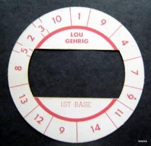 Cadaco All-Star Baseball Game Disk Lou Gehrig 1st Base