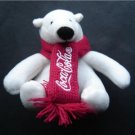 "Seated White Coca Cola Stuffed Bear Plush in Red Scarf 4"" tall"