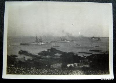 Early 1912 WWI Navy War Ships Photo in Harbor Charleston N C or Norfolk Va