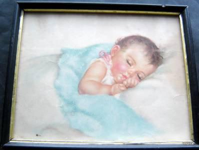 "Vintage Charlotte Becker Baby Print Land of Dreams Framed 8 3/4"" x 10 1/2"""