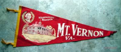 "Vintage Mt Vernon Washington's Mansion Souvenir Red Pennant 12"" x 29"""
