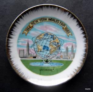 "1964-65 New York Worlds Fair Unisphere Ceramic Mini Plate 4 1/2"" Diameter"