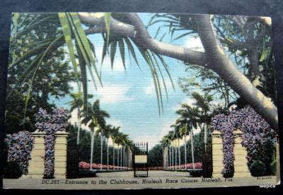 Entrance to the Clubhouse Hialeah Race Course Florida Color Linen Post Card
