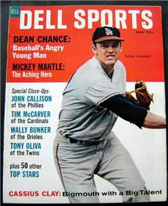 Dell Sports Magazine Baseball May 1965 Dean Chance Cover Mantle Cassius Clay Ali