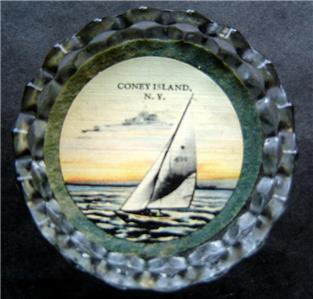 Coney Island Brooklyn NY Sail Boat Glass Ash Tray Trinket Dish or Paper Weight