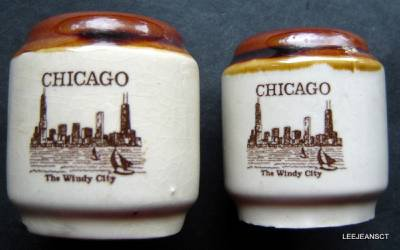 "Vintage Salt and Pepper Shakers CHICAGO Skyline Souvenir Ceramic Japan 2 1/2"""