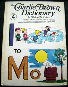 """The Charlie Brown Dictionary Book Vol 4  """" I to Mo""""  by Charles M. Schulz  1973"""