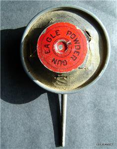 RARE Antique Aug 29 1882  Eagle Adv Gun Rifle Black Powder Tin / Leather Loader