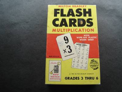 Flash Cards Multiplication Grades 3 thru 6 Milton Bradley 1959 # 4945 in Box