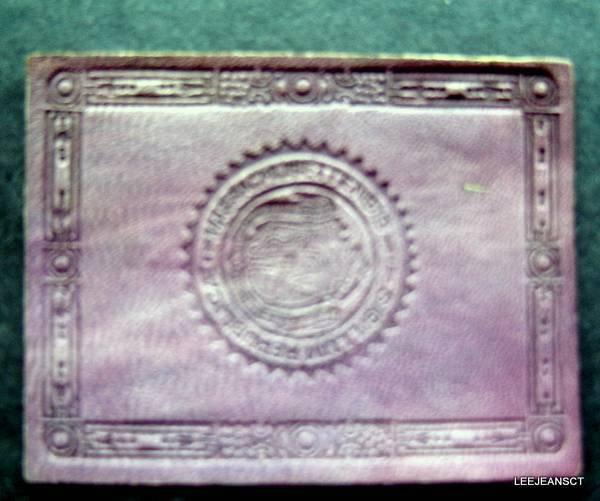 "Vintage  Massachusettensis Sigillum Republic 1910s Leather Seal Patch 2 1/2"""