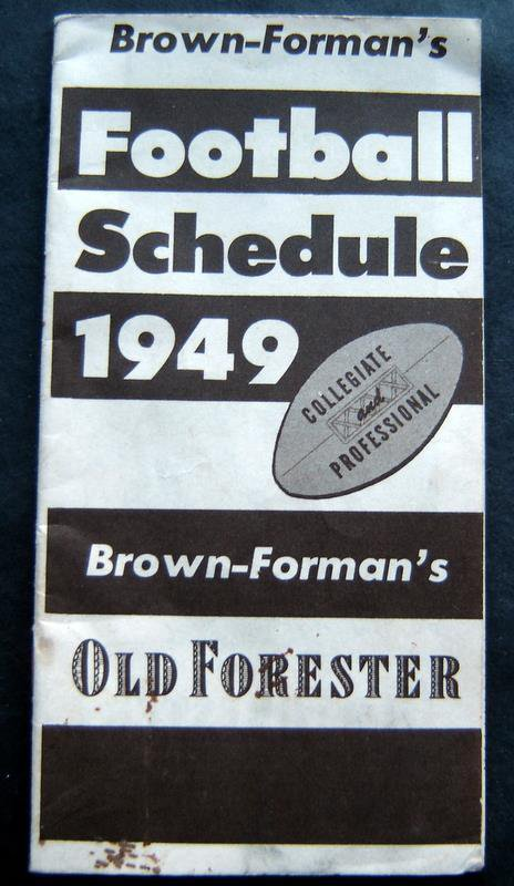 Brown - Forman's Football Schedule Booklet 1949 Collegiate & Professional