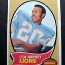 1970 Topps ROOKIE Football Card Lem Barney Detroit Lions HOF Cornerback #75 EX