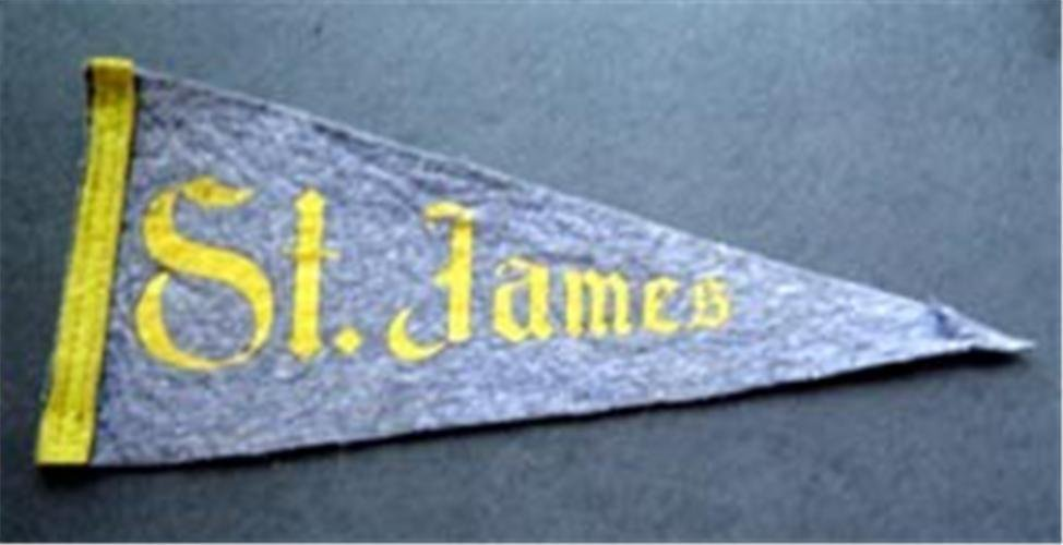 "Vintage St. James School Church Blue Felt Mini Pennant 8"" long"