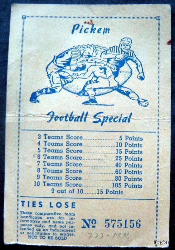 Pickem Football Special Gambling Card September 24, 1949 College Games