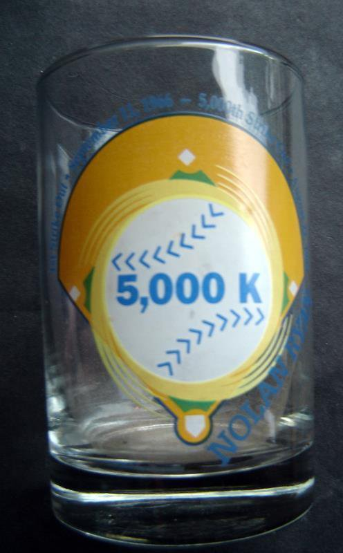 """Nolan Ryan Glass 5,000 K Strike Outs with Facsimilie Autograph 4 1/2"""" Tall"""