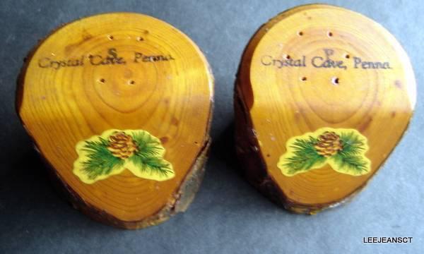 "Vintage Salt and Pepper Shakers WOOD Crystal Cave Pennsylvania 2 1/4"" Diameter"