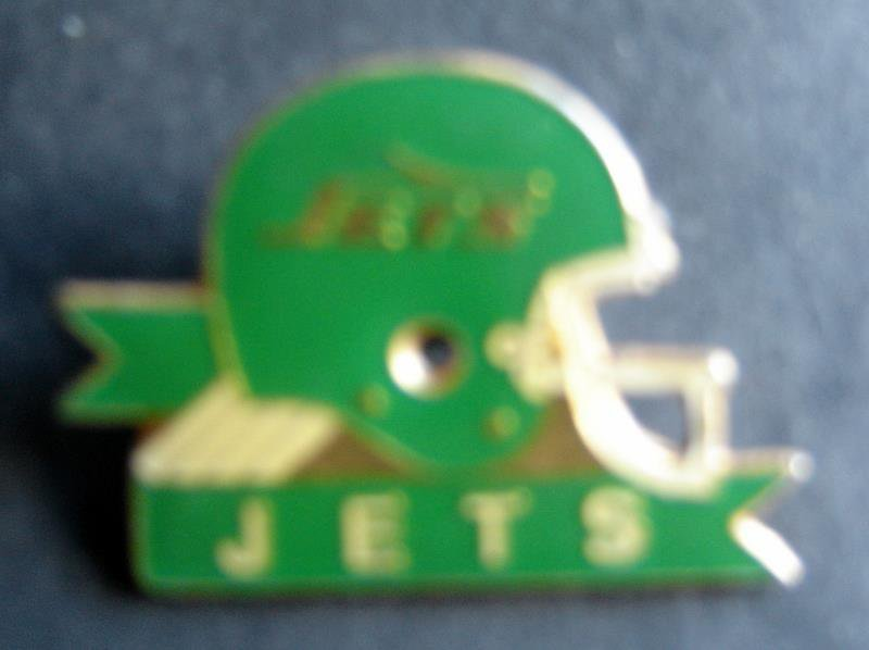 "1987 New York Jets NFL Football Helmet Metal Pin 1"" Diameter Tack Back"