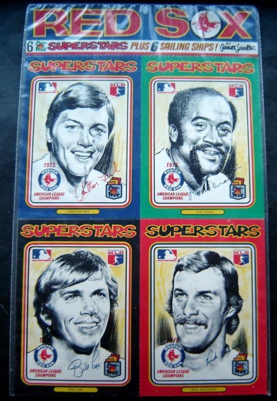 1976 Boston Red Sox 6 Superstars Art Cards by Charles Linnett MIP Rice Fisk Lee