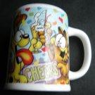 "Garfield the Cat Ceramic Mug Cup wirh Odie the Dog ""CHEERS"" Enesco 4 1/2"" x 3"""