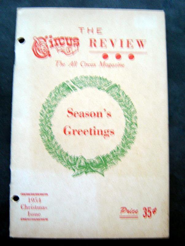 The Circus Review All Circus Magazine Christmas Issue 1954