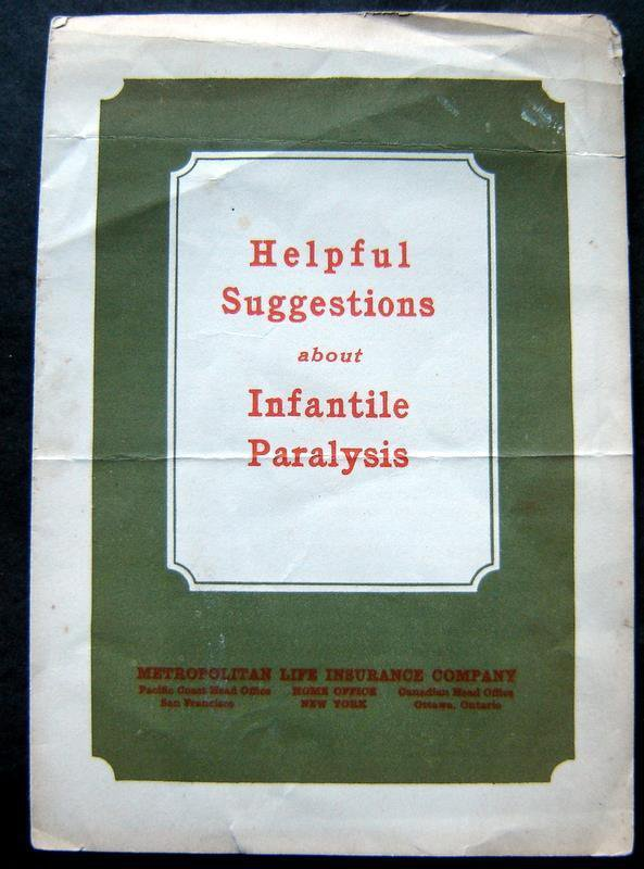 1924 Helpful Suggestions Infantile Paralysis Booklet Metropolitan Life Insurance