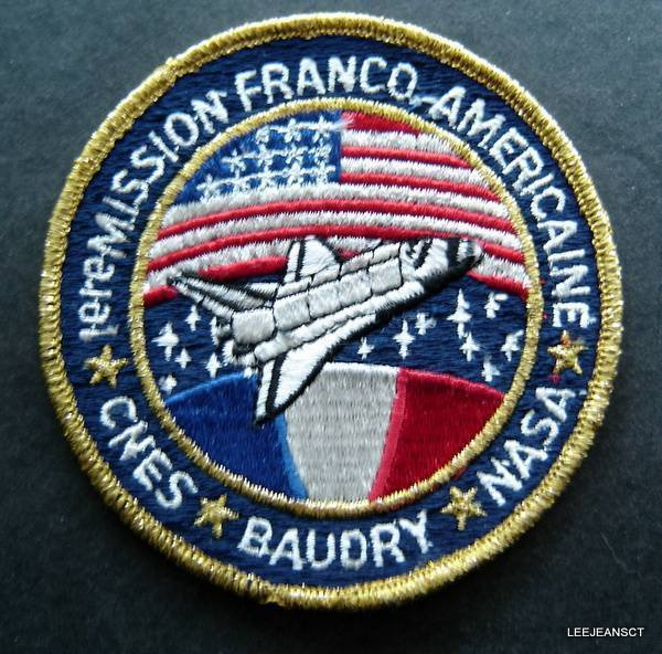 """NASA Swissartex STS-51G Baudry Personal Embroidered Space Patch  4"""" Franco"""