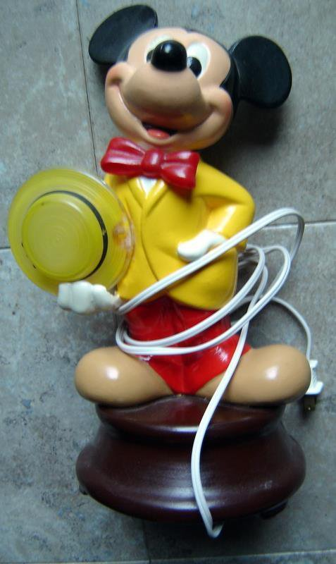 Mickey Mouse with Yellow Hat Ceramic Electric Lamp Walt Disney Productions