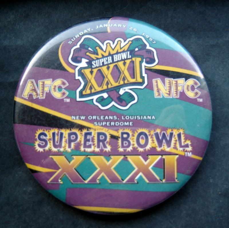 Super Bowl XXXI 31 Football PIN Jan 26 1997 New Orleans Louisiana Superdome