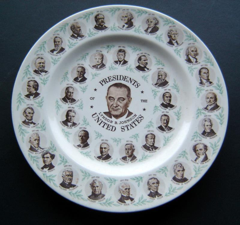 "35 Presidents Washington to Lyndon Johnson China PLATE 10"" Diameter 1960's"