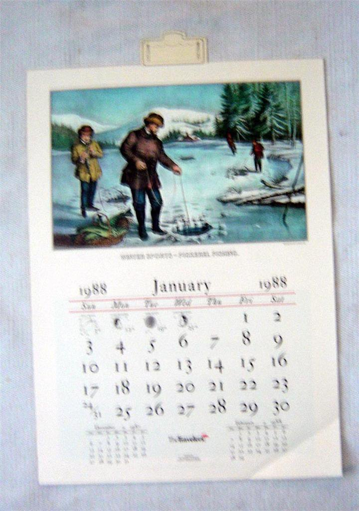 Vintage complete 1988 Currier & Ives Calendar Lithos Travelers Ins Hartford Ct