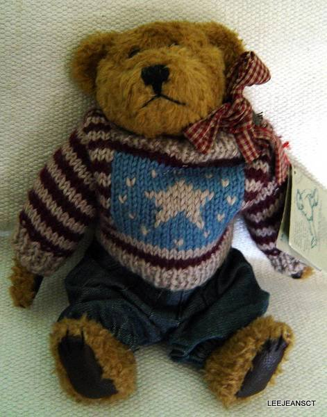 """Boyds Bear Eddie in Denim and Sweater with Tags Retired 10"""" 1985-1995"""