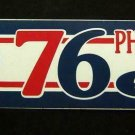 "Phladelphia 76ers Basketball Bumper Sticker 11 1/4"" x 3"" Trench Mfg. Made in USA"