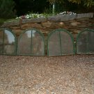 4 OLD ANTIQUE GREEN ROUND TOP WINDOWS