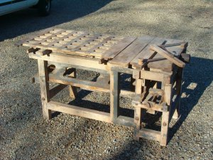 Antique All Wood Table Saw circa. 1880's (all wood Saw table)