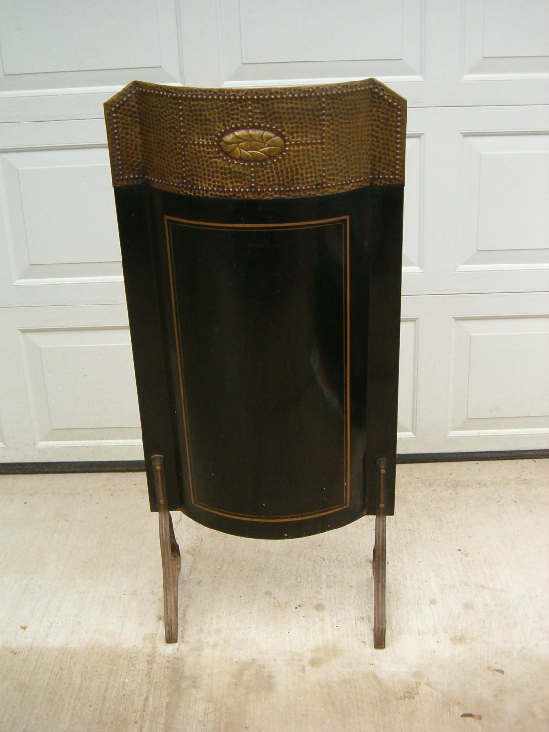 Black Tin & Brass Fire Shield Screen 1920's